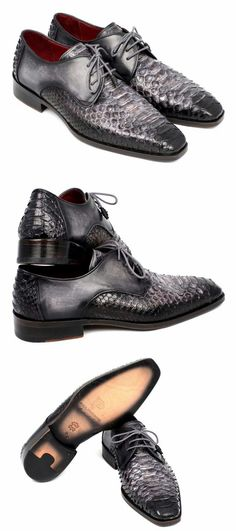 PAUL PARKMAN MEN'S GRAY AND BLACK GENUINE PYTHON & CALFSKIN DERBY SHOES