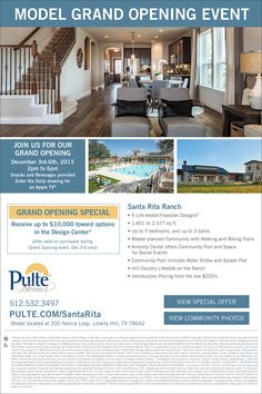 New Homes for Sale in Liberty Hill, Texas  Model Opening Event at Santa Rita Ranch Begins Dec 3  Come by for some beverages and a chance to win an Apple TV!  http://www.pulte.com/communities/TX/liberty-hill/SantaRitaRanch/209566/index1.aspx#.Vk-WnjjwuM9
