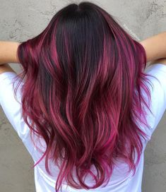 45 Shades of Burgundy Hair: Dark Burgundy, Maroon, Burgundy with Red, Purple and Brown Highlights Bold Burgundy and Fuchsia Highlights Cabelo Ombre Hair, Ombre Curly Hair, Pink Ombre Hair, Brown Ombre Hair, Dyed Hair, Curly Hair Styles, Violet Hair, Brown And Pink Hair, Blonde Hair