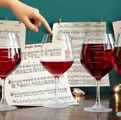 Musical Wine Glasses: Turn the sophisticated pleasures of wine drinking into an experience that's musical, memorable, and above all, fun. Just fill our goblet to the desired note, and run your moistened finger around the rim of the glass. Soon, like a bow on the strings of a violin, your finger will cause the glass to vibrate, and a crystal-clear note will sound.