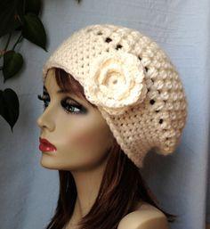 Crochet Slouchy Beret Womens Hat