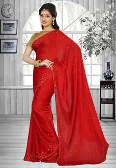 Buy Plain Chiffon Saree in Red online, work: Plain, color: Red, usage: Festival…