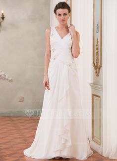 Wedding Dresses - $169.99 - A-Line/Princess V-neck Sweep Train Chiffon Wedding Dress With Beading Sequins Cascading Ruffles (002040421) http://jjshouse.com/A-Line-Princess-V-Neck-Sweep-Train-Chiffon-Wedding-Dress-With-Beading-Sequins-Cascading-Ruffles-002040421-g40421