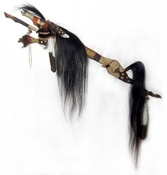 """""""Buffalo Spirit"""" Native American Carved Horse Dance Stick - Side View"""