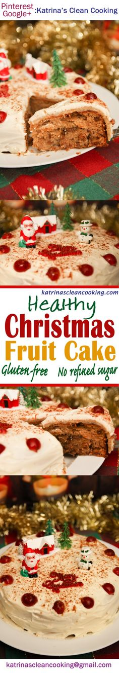Healthy Christmas Fruit Cake: no refined sugar, no butter/oil, no gluten. Only 300 calories (normal Christmas Cake is 800 calories! Gluten Free Baking, Healthy Baking, Gluten Free Recipes, Healthy Recipes, Healthy Cake, Potluck Recipes, Farmers Market Recipes, Fruit Packaging, Mixed Fruit