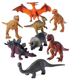 12 - Assorted Medium Sized Plastic Toy Dinosaurs Play set figures. Average size 3 1/2 in. L. Made of plastic. Assorted Styles.
