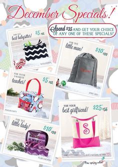 Check out these AMAZING specials for December, there's something for everyone on your list this year! To get started visit http://www.mythirtyone.com/blessed1. Specials take effect Dec 1st 2014, contact me for presale!