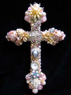 CJ Borden. Catherine Pink Pearl Catholic Cross Vintage Jewelry Wall Art. ArtCreationsByCJ on Etsy