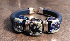 Regaliz Bracelet, Genuine Dark Blue Leather with Handmade Silver Fumed Deep Blue galaxy beads Tiny Necklace, Glass Necklace, Handmade Beads, Handmade Silver, Lampwork Beads, Deep Blue, Antique Silver, Gifts For Women, Glass Beads