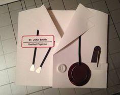White Lab Coat Card. Doctor. Physician. Medical. Congratulations. Invitations. Graduation. Custom.