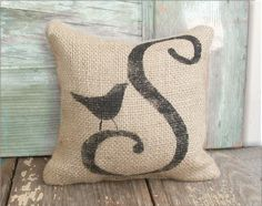 Bird Letter Custom Monogram   Burlap Feed Sack by nextdoortoheaven, $10.00