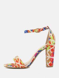 Geometric Printed Chunky Heels ORANGE | MakeMeChic.COM