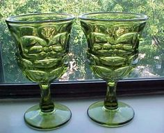 Pair Fostoria Argus Green Water Glass set Free Shipping by Bjorkwalk for $20.00
