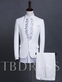 Red/Black/White Stand Collar Paillette Solid Color Mens Dress Suit We carry a wide array of the hottest styles of tops, bottoms, dresses, jewelry, and accessories. Dress Suits For Men, Mens Suits, Prince Suit, Suit Pattern, Designer Suits For Men, White Suits, African Men Fashion, Embroidery Suits, Wedding Suits