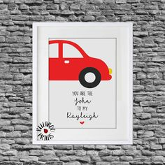 ~The Print~ A gorgeous, fun and unique print celebrating the amazing Car Share! Makes a quirky gift for that Peter Kay fan in your life. The print is illustrated with a cute red car and John and Kayleigh quote. Names and/or a date could also be added to personalise at no extra cost. The print is A4 in size, unframed and printed on high quality 300 gsm card. Please send any personalisation details when ordering using the note to seller box.  ~POSTAGE & PACKAGING~ The print will be pos...