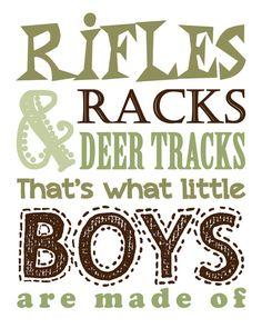 Hunting Nursery Decor. Children's Wall Art. Rifles Racks & Deer Tracks that's what little BOYS are made of. Hunting Decor. Boys Hunting Sign...