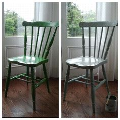 1 hour project for a rainy day. Before and After. Annie Sloan duck egg blue.