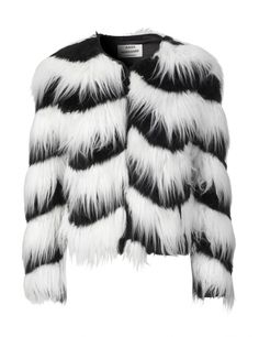 White and Black Faux Zig Zag fur