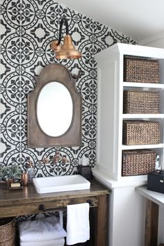 Master Bathroom Renovation- How to achieve a farmhouse style bathroom- farmhouse style- bathroom- remodeled bathroom- farmhouse bathroom- cement tile- copper accents- farmhouse style- bathroom update- bathroom reveal- bath Bad Inspiration, Bathroom Inspiration, Bathroom Ideas, Bathroom Vanities, Bathroom Organization, Bathroom Cabinets, Shower Ideas, Bathroom Updates, Budget Bathroom