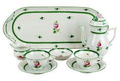 Vintage Herend Vienna Rose Tea Set, Svc. for 2