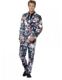 You can buy a Men's Zombie Suit for Halloween parties from the Halloween Spot. Dress like zombie this Halloween with this sublime print Jacket, Trousers & Tie. Halloween Zombie, Halloween Fancy Dress, Adult Halloween, Halloween Costumes, Zombie Costumes, Funny Fancy Dress, Suit With Jacket, Trendy Suits, White Zombie