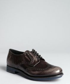 Prada smoke leather tooled and pinked wingtip oxfords