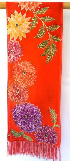 Hand Painted Silk Scarf ETSY Christmas Gift by SilkScarvesTakuyo