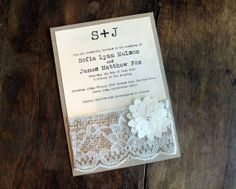Burlap Lace Rustic Wedding Invitation Invite Shabby Chic - flower