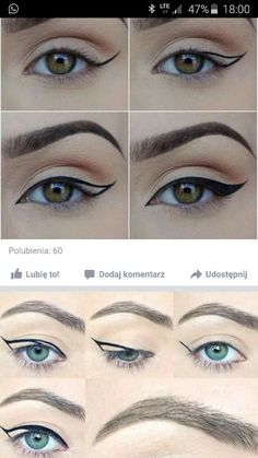 Makeup ideas step by step natural simple winged eyeliner ideas Eye Makeup Steps, No Eyeliner Makeup, Hair Makeup, Cat Eye Eyeliner, Makeup Blog, Makeup Tips, Makeup Ideas, Makeup Tutorials, Emo Makeup Tutorial