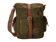 Fossil Estate N/S Commuter Bag Olive - Zappos.com  washed nylon. Push-lock flap closure. Adjustable leather shoulder strap. Leather detailing throughout. Three exterior slip pockets. Lined interior. Interior back-wall zip pocket. Interior dual multi-functional pockets. Imported. Measurements:      Bottom Width: 9 in     Depth: 4 in     Height: 14 in