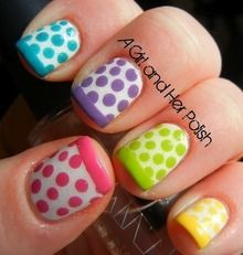 For my toes....I have done polka dots before just not a different color on each nail, how fun!!!