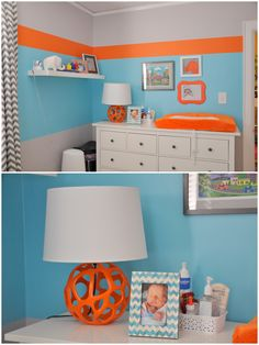 orange, aqua, gray nursery-kinda love these colors for a boy