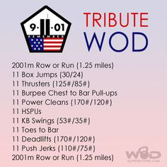 The workout symbolizes the events that unfolded on September 11,2001, in its design.The date & year are represented by the row(i.e. 2001 meters)& the 9 movements, each including 11 repetitions. The 125lb Thrusters represent the deaths that occurred at the Pentagon the 175lb Power Clean stands for AA Flight 175 that collided with the South Tower; Flight 77 & Flight 93 were combined & are represented in the 170lb Deadlift;the 110lb Push Jerk signifies the number floors in each of the Twin…