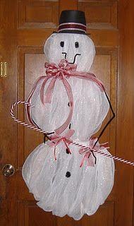 Deco mesh snowman!