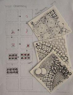 Charmzy ~ Zentangle by Kelly Barone Zen Doodle Patterns, Doodle Borders, Zentangle Patterns, Tangle Doodle, Tangle Art, Doodles Zentangles, Doodle Drawings, Doodle Art, Sharpie Doodles