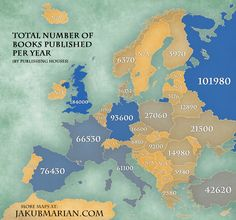 Number of books published per year per captia by country in Europe