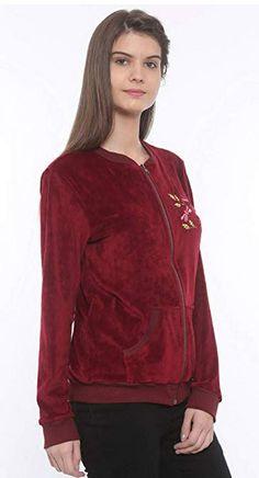 Mystere Paris Butterfly Velour Jacket Sleepwear Nightwear Loungewear Casual Women Ladies Maroon A257C  maroon
