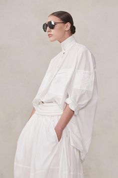 Over-sized Poplin shirt White Shirts, Apparel Design, White Fashion, Editorial Fashion, Dress Skirt, Fashion Outfits, Fashion Trends, Street Style, Clothes For Women