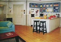 With plenty of shelf space for cereal the #kitchen on set of the #Seinfeld show was very busy. Click to see inside Jerry's real kitchen in the Hamptons.  | hookedonhouses.net