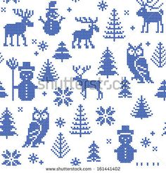 Christmas background with deer and owl for knitting or filet crochet - stock vector Knitting Charts, Knitting Stitches, Knitting Patterns, Fair Isle Chart, Fair Isle Pattern, Cross Stitching, Cross Stitch Embroidery, Cross Stitch Patterns, Christmas Knitting