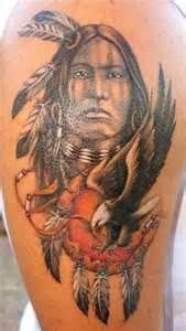 Tattoo Of Indio And Dream Catcher Design Picture On The Arm