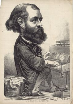 Charles Gounod (1818-1893), caricature (1862), by Étienne Carjat (1828-1906), published in Le Boulevard, number 10, page 4.