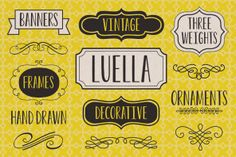 Luella is an elegant, hand drawn vintage inspired font by Cultivated Mind. Luella has been carefully crafted and comes in 3 weights (Regular/Bold/Black). This font works perfectly with the Luella frames and ornaments sets.