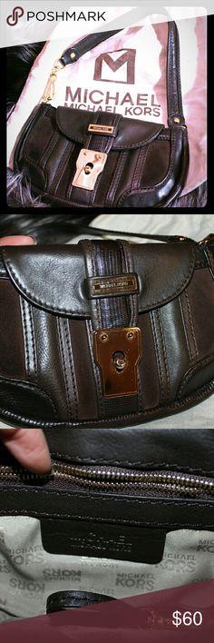 Michael Kors pouchette shoulder bag Brown leather and suede pouchette shoulder bag with dust bag. KORS Michael Kors Bags Shoulder Bags