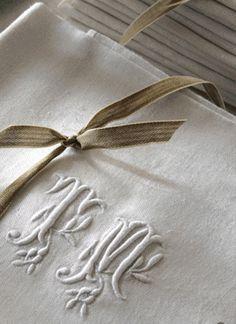beautiful monogrammed linens