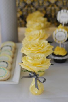 Yellow flowers for a yellow and gray baby shower