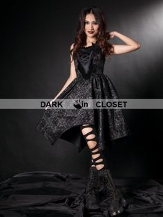 Pentagramme Black Pattern Halter Fashion Gothic Dress