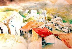 türkisches Dorf, Aquarell 2015, 38 x 56 cm