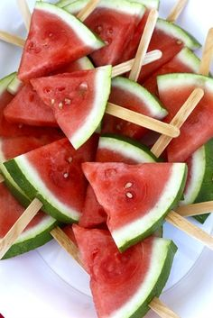 cut watermelon like this, soak in tequila and sprinkle with coarse salt. BAM! summer fresh margarita!
