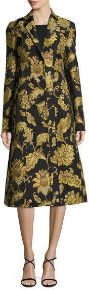 Derek Lam Damask Jacquard A-Line Coat